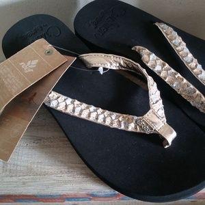 REEF Twisted Star glitter strap flip flops sz 8
